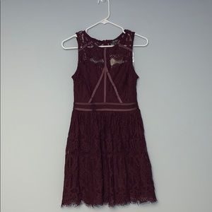 Lily Rose Dark Maroon Lacey Dress